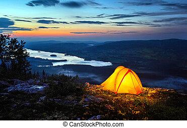 do góry, zaświecić, namiot, zmierzch