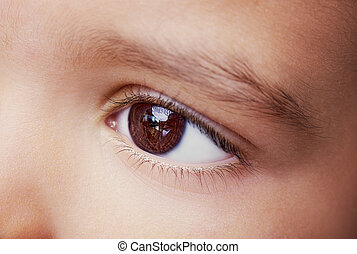 do góry., zamknięcie, wizerunek, oko, dziecko