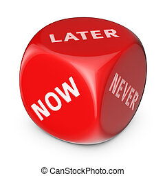 Do it later - Procrastination concept. Big red dice with...