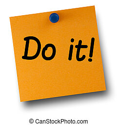 Do it orange postit affixed with blue small thumb tack on ...