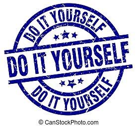 do it yourself blue round grunge stamp