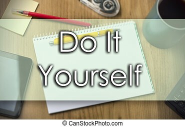 Assorted do it yourself tools and notebook assorted do it yourself do it yourself business concept with text solutioingenieria Images