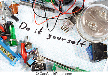 """""""Do it yourself"""" - radio-electronic parts on graph paper ..."""