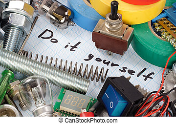 """""""Do it yourself"""" - repair parts on graph paper background"""