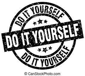 Diy do it yourself yellow black diy do it yourself text do it yourself round grunge black stamp solutioingenieria Images