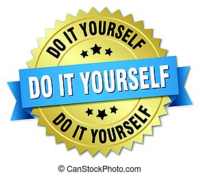 do it yourself round isolated gold badge
