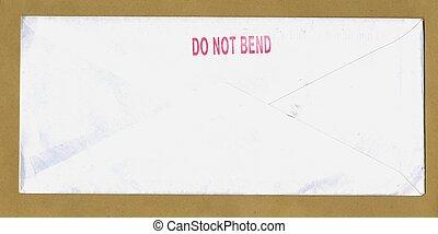 do not bend - paper envelope over light brown background