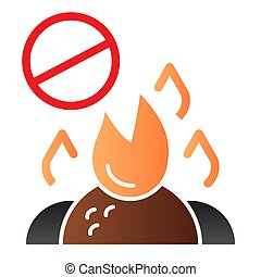 Do not burn waste flat icon. Burning garbage ban color icons in trendy flat style. Forbidden bonfire gradient style design, designed for web and app. Eps 10.