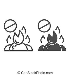Do not burn waste line and glyph icon. Burning garbage ban vector illustration isolated on white. Forbidden bonfire outline style design, designed for web and app. Eps 10.
