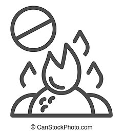 Do not burn waste line icon. Burning garbage ban vector illustration isolated on white. Forbidden bonfire outline style design, designed for web and app. Eps 10.
