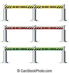 do not cross inscription tape background