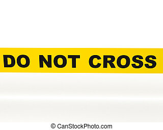 Do not cross. Yellow tape isolated on white background. High quality 3d render.