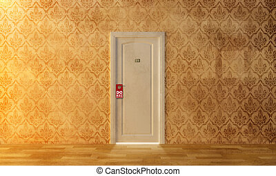 "Do not disturb - a white door on the damask wall with ""do ..."