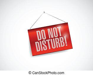 do not disturb hanging banner illustration design over white
