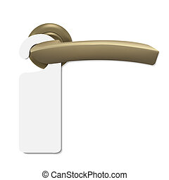 Do Not Disturb Sign With Door Handle, Isolated On White...