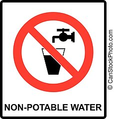 Do not drink water prohibition sign. vector illustration...