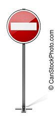 Do not enter traffic sign isolated on white background. 3D illustration