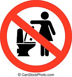 Do not flush feminine products in toilet vector sign