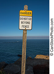 Do Not Go Beyond Fence Sign