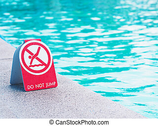 Do not jump into water sign