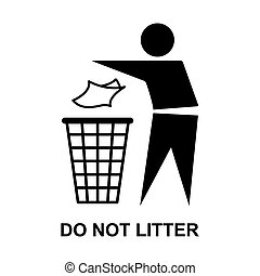 Do not litter flat icon isolated on white background. Keep ...
