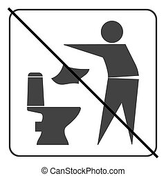 Do not litter in toilet icon 3 - Do not litter in toilet...