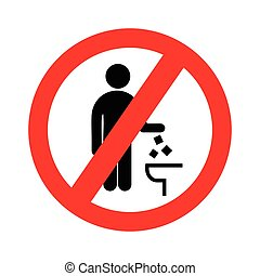 Do not litter in toilet icon. Keep clean sign. Silhouette of a man, throw garbage in a bin, in circle isolated on white background. Vector illustration