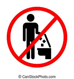 Do not litter in toilet, keep clean, prohibition sign, vector illustration.