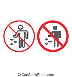 Do not litter line and glyph icon, prohibition and forbidden, no garbage sign vector graphics, a linear pattern on a white background, eps 10.