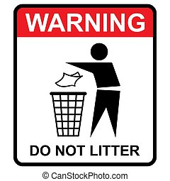 Do not litter warning flat icon isolated on white background...