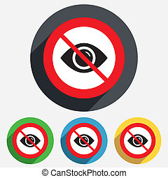 Do not look. Eye sign icon. Publish content button. Visibility. Red circle prohibition sign. Stop flat symbol. Vector