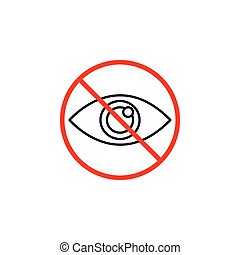 Do not spy line icon, prohibition sign, forbidden