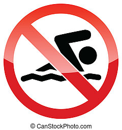 Do not swim vector sign - Swimming prohibited sign isolated...