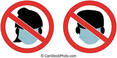 Do not wear a face mask symbols vector