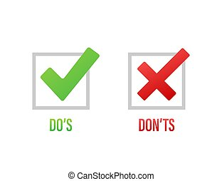 Do s and Don ts like thumbs up or down. flat simple thumb up...