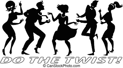 Do the Twist - Black vector silhouettes of people dressed in...