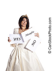 Do you marry me - Bride thinking about the answer from a...