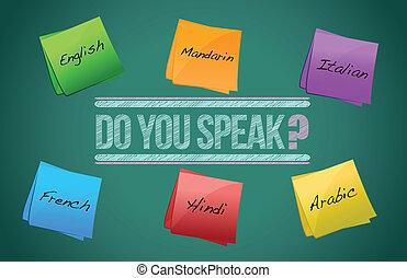 do you speak board illustration design over a white...
