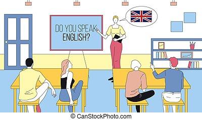 Do You Speak English Concept Cartoon Illustration. Linear ...