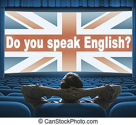 """Do you speak English?"" phrase on wide cinema screen"