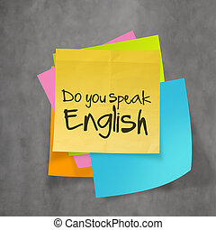 """""""do you speak english"""" text on sticky note paper on wall ..."""