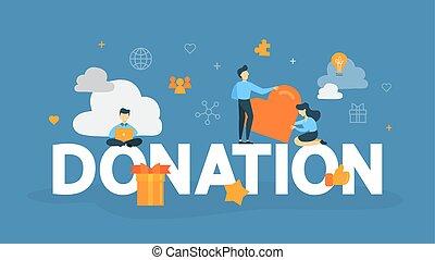 doação, conceito, ilustração