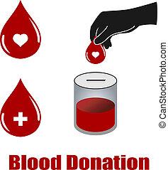 doação, vectors, sangue