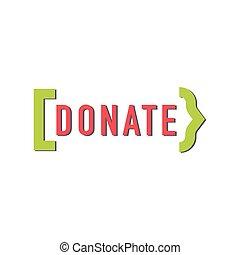doar, botão, ajuda, ícone, doação