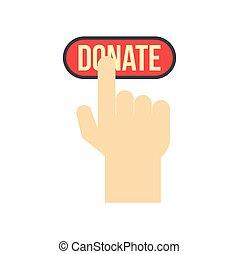 doar, botão, apertado, por, mão, apartamento, ícone