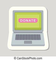 doar, botão, sinal., ajuda, ícone, adesivo
