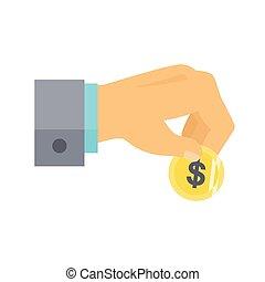 doar, button., ajuda, ícone, doação