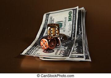 dobókocka, dollárok, pénz, kockáztat