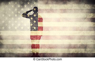 dobbel eksponering, i, saluting, soldat, på, united states, grunge, flag., patriotiske, konstruktion