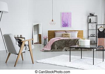 Moderne, pels, tæppe, soveværelse, spejl, eftergøre, sølv.... stock ...